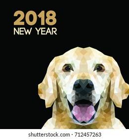 Golden Retriever Triangle dog. Polygon new year dog symbol
