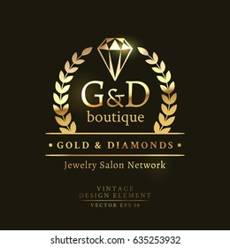 Golden retro badge with crystal and laurel wreath on the black background. Gold and Diamond boutique logo.