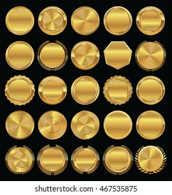 Golden retro badges and laurel wreaths collection