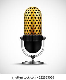 Golden retro microphone.