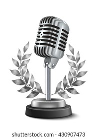 Golden retro microphone with laurel wreath realistic music competition award template vector illustration
