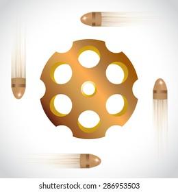 Golden revolver drum on white , vector illustration