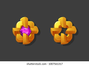 Golden reward icon for game interface. Cartoon achievement decoration for game. Vector illustration.