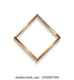 Golden rhombus frame for picture isolated on white background. Blank space for picture, painting, card or photo. 3d realistic modern template vector illustration. Simple gold object on wall.