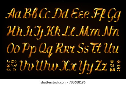 Golden ribbon alphabet on black background. Italic font. Set of uppercase and lowercase letters, diacritic marks.