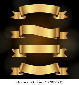 Golden Ribbon banner set - Vector illustration.