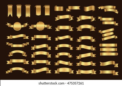 Golden ribbon banner set.Vector illustration.