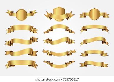 Golden ribbon banners.Vector gold ribbons.