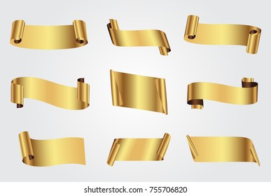 Golden ribbon banners.Vector gold ribbons.