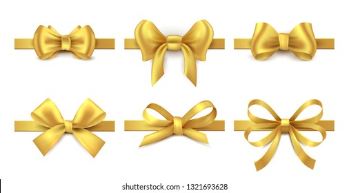 Golden ribbon bow. Holiday gift decoration, valentine present tape knot, shiny sale ribbons collection. Vector realistic gold bows