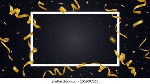 Golden ribbon with confetti with space for text