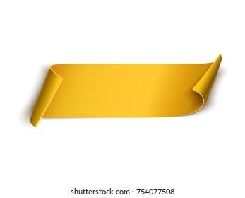 Golden ribbon isolated on white. Vector banner
