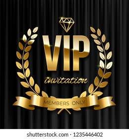 Golden ribbon with laurel wreath and VIP invitation text on black curtain background. Vector VIP invitation design template