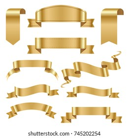 Golden ribbon tape banner flag bow classic glossy scroll vector illustration.