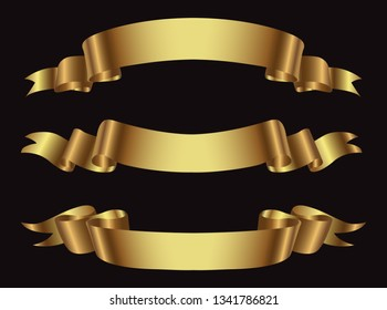Golden ribbons set.Gold ribbon banners.