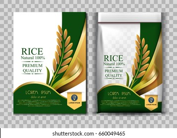 Golden Rice Package Thailand food Logo Products and Fabric Background Thai Arts,  banner and poster template design rice food