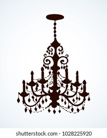 Golden rich lampshade hang on white backdrop. Dark black outline ink hand drawn bulb object design logo sign emblem in revival rococo art etching print pattern style. Close up view with space for text