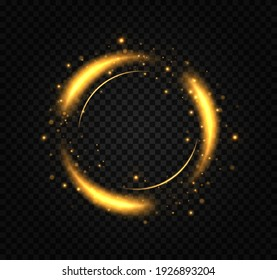 Golden ring. Gold circles frames with glitter light effect. A golden flash flies in a circle in a luminous ring.