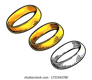 Golden ring. Hand drawn in a graphic style. Vintage color vector flat illustration for info graphic, poster, web. Isolated on white background