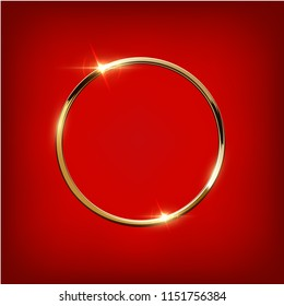 Golden ring isolated on red background. Vector luxury design element.