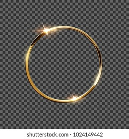 Golden ring isolated on transparent background. Vector design element.