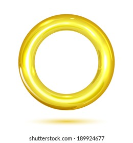 Golden ring isolated on white background, illustration.