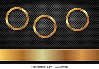 The golden Rings on dark Background