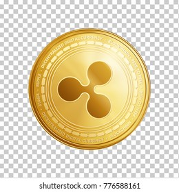Golden ripple coin. Crypto currency blockchain coin ripple symbol isolated on trnsparent background. Realistic vector illustration.