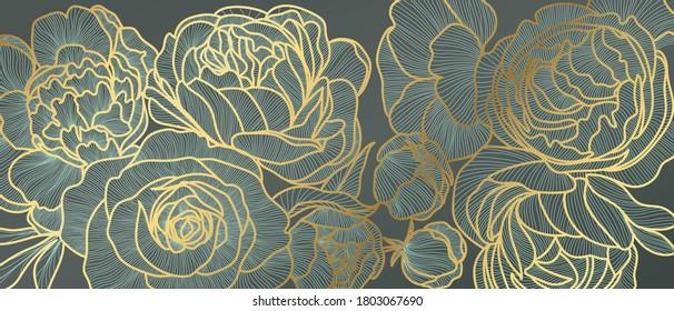 Golden rose flower art deco wallpaper background vector. Floral Line arts background design for Luxury elegant pattern interior design, vector arts, fashion textile patterns, textures, posters, wrappe