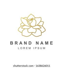 Golden rose, lotus, gardenia flower vector. flower logo.