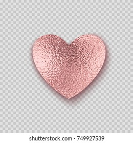 Golden rose smudge foil heart. Pink sparkle glossy grunge texture valentine decor isolated on transparent background. Vector shiny metallic gradient pattern for your Christmas or New Year card design
