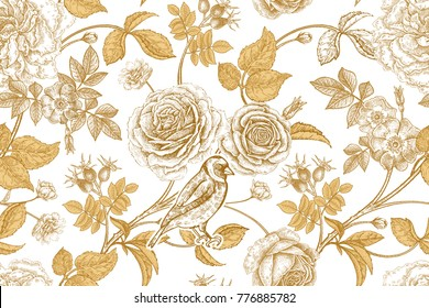 Golden roses, flowers, leaves and berries of dog rose, bird on branches on white background. Vintage seamless pattern. Oriental style. Vector illustration. Template for  textiles, paper, wallpaper.