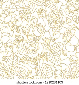 Golden roses on white background. Seamless vector pattern with Art Deco motifs.