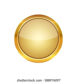 Golden round button with a metal frame. Vector illustration. Glossy round button isolated on white background.