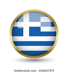 Golden round button national flag of Greece with the reflection of light and shadow. Icon country. Realistic vector illustration.