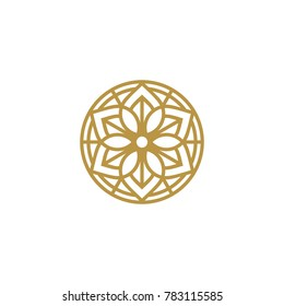 Golden round flower, eco emblem logo template