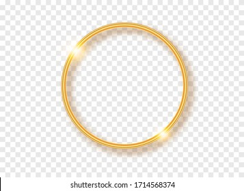 Golden round frame with shadows isolated on transparent background