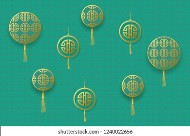 Golden round frames for text. Design for Chinese New Year. Vector illustration EPS10