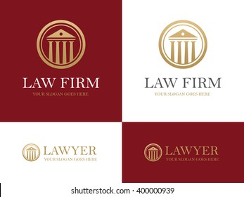 Golden round icon with antique building with columns. Can be used as logo for law firm or company, lawyer office; courthouse, university or bank design concept