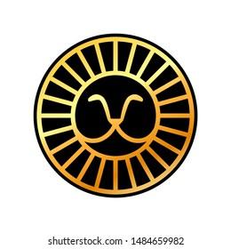 Golden round lion head logo template design. Vector illustration.