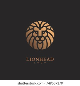 Golden round lion head logo template design. Vector illustration.