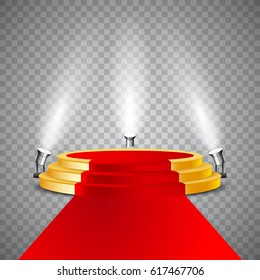 Golden round podium with red carpet and illumination, isolated on white