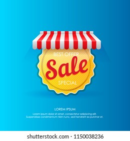 Golden round sticker on vector poster for sale advertising under striped tent on blue background