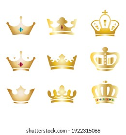 Golden royal crowns icon set. Crowns with gems, diamonds. King corona design elements. Prince, princess diadem isolated on white background.