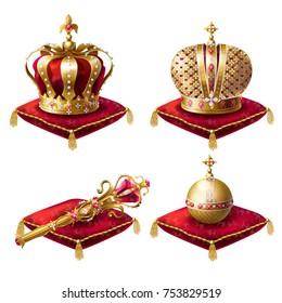 Золотые королевские короны, скипетр с драгоценным камнем и globus cruciger, лежащий на красной церемониальной подушке с кисточками реалистичные векторные иллюстрации, установленные на белом фоне. Символы власти монархии