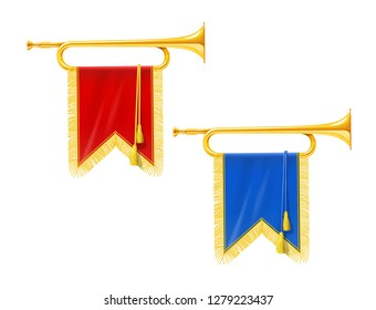 Golden royal horn trumpet with blue and red banner. Musical instrument for king orchestra. Gold Royal fanfare for play music. Isolated white background. EPS10 vector illustration.
