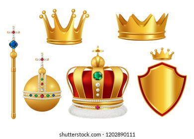Golden royal symbols. Crown with jewels for knight monarch antique trumpet medieval headgear vector realistic. Illustration of king and monarch golden crown with jewelry stone