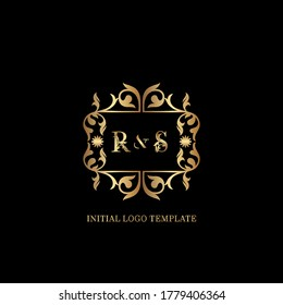 Golden RS Initial logo. Frame emblem ampersand deco ornament monogram luxury logo template for wedding or more luxuries identity