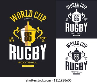 Golden rugby trophy for world cup banner. American football winner cup for sport club logo or sportswear sign, t-shirt print. Team branding and competition, fashion and clothing, advertising theme