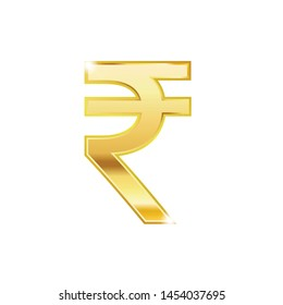Golden Rupee symbol isolated web vector icon. Rupee trendy 3d style vector icon. Golden Rupee currency sign